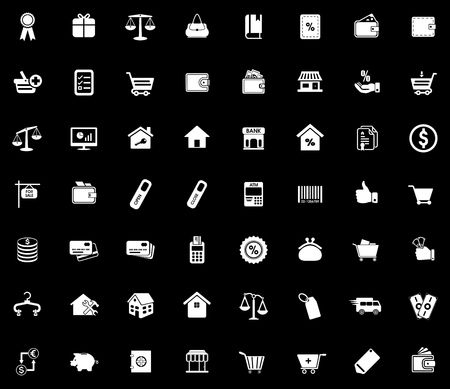 Commerce icons set illustration on black background.