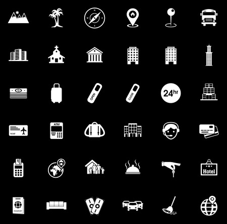 Hotel icons set illustration on black background.  イラスト・ベクター素材