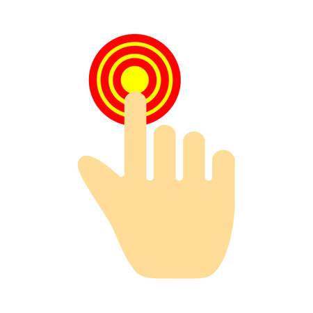 vector tap hand icon. click here, finger, touch, pointer, cursor, mouse symbol Иллюстрация