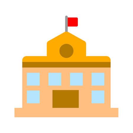 vector school building illustration, university symbol - education icon