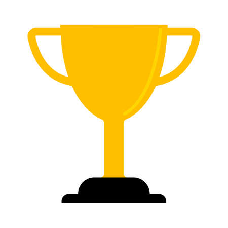 Trophy icon - gold prize isolated, award winner prize, achievement symbol Illustration