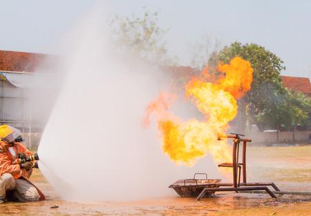 fire team: Fire Training team in thailand. Stock Photo