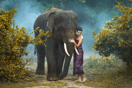 Young elephant and woman Thai culture traditional ,vintage style