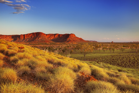 Paisaje australiano hermosa en la luz de un sol poniente. Fotografiado desde el mirador Kungkalahayi en el Parque Nacional de Purnululu.