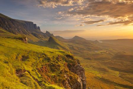 Sunrise over the Quiraing on the Isle of Skye in Scotland.