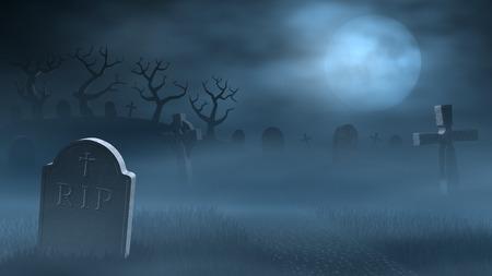 Een pad tussen oude grafstenen op een griezelige en mistig kerkhof 's nachts. Door het licht van een volle maan verlicht.