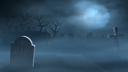 A path between old tombstones on a spooky and foggy graveyard at night. Lit by the light of a full moon.