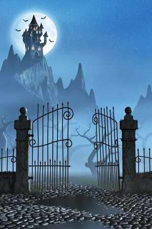 A rusty open gate leading to a spooky castle high up in the mountains.