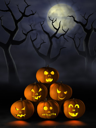 Moonlight lanterns: Frightening Halloween pumpkins or Jack OLanterns in a spooky and misty forest under a full moon at night. Kho ảnh