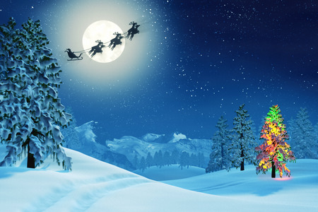 completos: Una luz de la luna paisaje nevado de Navidad en la noche bajo una luna llena. Los árboles están cubiertos de nieve y uno de los árboles está iluminada con luces de colores de Navidad. Santa Claus está pasando en su trineo. Foto de archivo