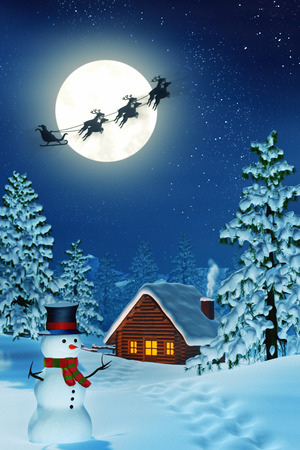 A cabin in a moonlit snowy Christmas landscape at night. The trees are covered in snow and a snowman is standing by the cabin. Santa Claus is passing by in his sleigh.