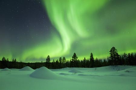 Espectaculares auroras boreales auroras boreales sobre un paisaje nevado de invierno en la Laponia finlandesa.