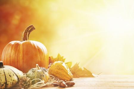 horizontální: Rustikální podzimní Zátiší s dýní a zlaté listí na dřevěném povrchu. Jasné sluneční světlo přicházející zezadu.