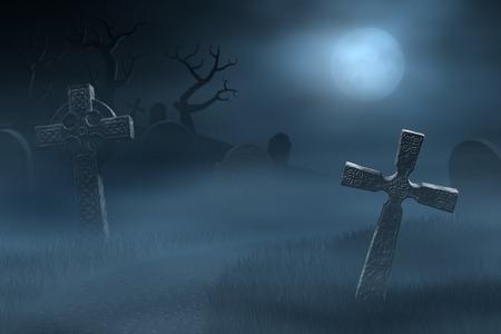 arbres silhouette: Un chemin entre les anciennes pierres tombales d'un cimetière fantasmagorique et brumeux dans la nuit. Éclairée par la lumière de la pleine lune. Banque d'images