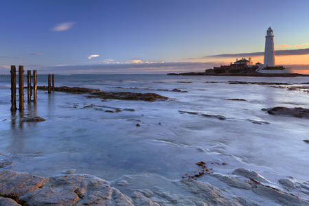 marys: Low tide at the causeway towards St. Marys Lighthouse, Whitley Bay, England. Photographed at dawn.