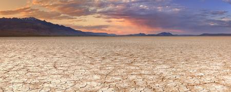 Gebarsten aarde in de Alvord Playa, een droge lakebed in de Alvord Woestijn in het zuidoosten van Oregon, USA. Gefotografeerd bij zonsondergang.