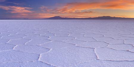 salar: The worlds largest salt flat, Salar de Uyuni in Bolivia, photographed at sunrise.