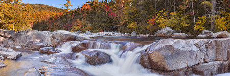 Multi-coloured fall foliage along the Swift River Lower Falls, White Mountain National Forest in New Hampshire, USA.