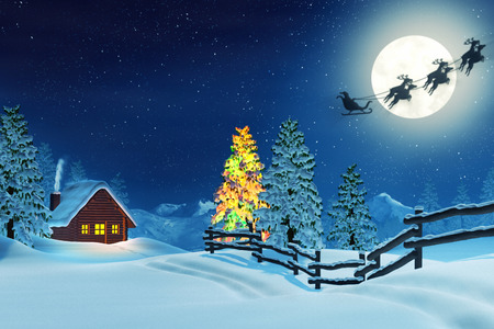 A cabin in a moonlit snowy Christmas landscape at night. The trees are covered in snow and one of the trees is lit by colourful Christmas lights. Santa Claus is passing by in his sleigh.