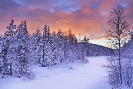 冬景色の凍った川。フィンランドのラップランドでレビ近く日の出を撮影しました。 写真素材