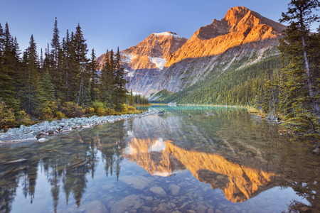 Mount Edith Cavell reflected in Cavell Lake in Jasper National Park, Canada. Photographed at sunrise. Reklamní fotografie