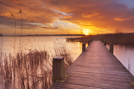 Spectacular sunrise over a lake near Amsterdam in The Netherlands.