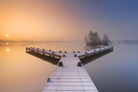 bos: A frosty jetty on a beautiful foggy morning in winter. Photographed in the Amsterdamse Bos Amsterdam Forest at sunrise.
