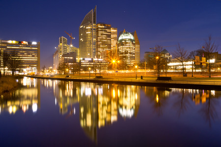The skyline of The Hague, The Netherlands at night.