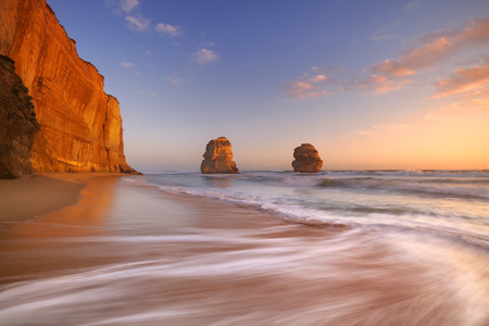 australia beach: The Twelve Apostles along the Great Ocean Road, Victoria, Australia. Photographed at sunset.