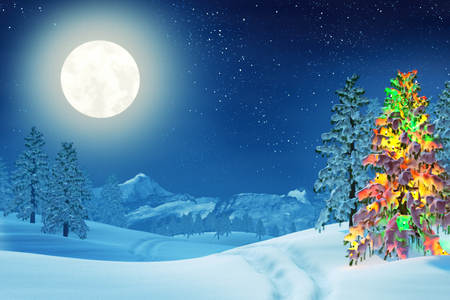 moonlit: A moonlit snowy Christmas landscape at night under a full moon. The trees are covered in snow and one of the trees is lit by colourful Christmas lights.
