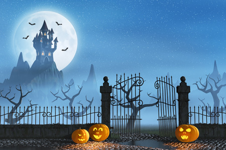 Jack OLanterns guarding an open gate leading to a spooky castle high up in the mountains.