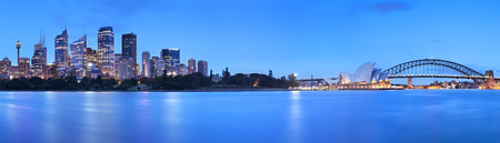 sydney harbour: The Harbour Bridge, Sydney Opera House and Central Business District of Sydney. Photographed at dawn. Stock Photo