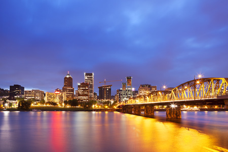 The skyline of Portland, Oregon at night. Photographed from across the Willamette River.