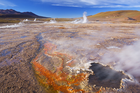geysers: The El Tatio Geysers, high up in the Atacama Desert, northern Chile. Stock Photo