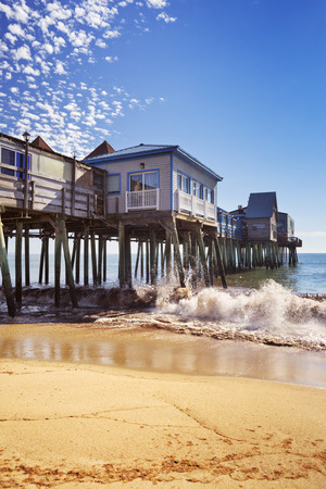 The pier at Old Orchard Beach in Maine, USA on a beautiful sunny day. Stock Photo