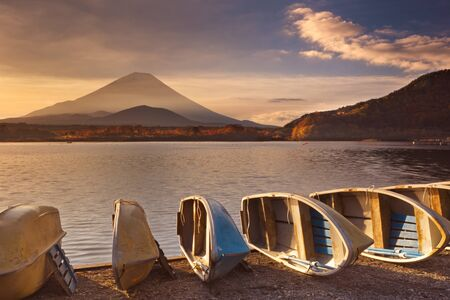 stratovolcano: Mount Fuji Fujisan,  photographed at sunrise from Lake Shoji Shojiko, .