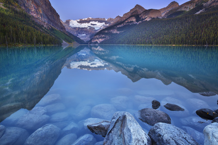 louise: Beautiful Lake Louise in Banff National Park, Canada. Photographed at dawn.