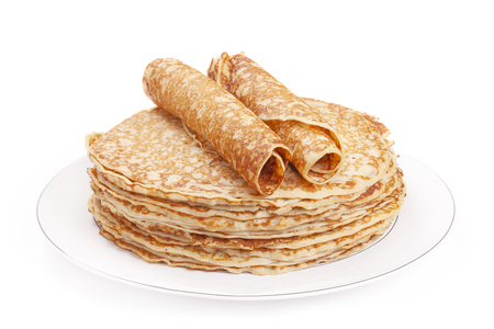 A stack of Dutch pancakes on a plate, isolated on a white background.