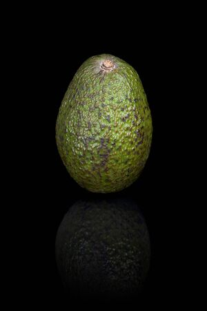 reflective: An avocado on a black reflective background. Stock Photo