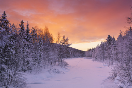 levi: A frozen river in a wintry landscape. Photographed near Levi in Finnish Lapland at sunrise.