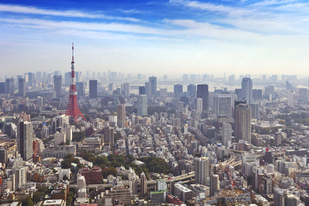 towers: The skyline of Tokyo, Japan with the Tokyo Tower photographed from above. Stock Photo