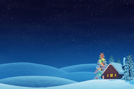 cabins: A cabin in a snowy Christmas landscape at night. The trees are covered in snow and one of the trees is lit by colourful Christmas lights. Stock Photo