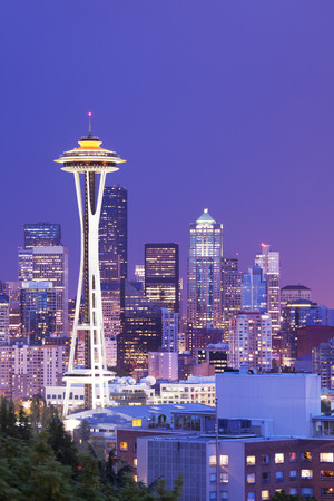 The Space Needle and the skyline of Seattle in Washington, USA. Photographed at night.