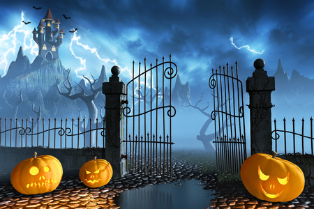 scary halloween: Jack OLanterns guarding an open gate leading to a spooky castle high up in the mountains.