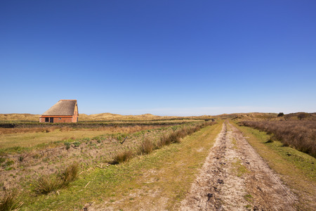 sheep barn: A traditional sheep barn or schapenboet on the island of Texel in The Netherlands on a sunny day.