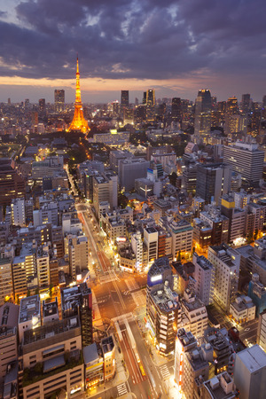 city night: The skyline of Tokyo, Japan with the Tokyo Tower photographed at dusk.