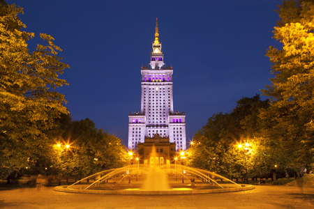 The Palace of Culture and Science in Warsaw, Poland at night.