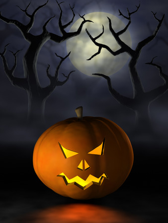Moonlight lanterns: Frightening Halloween pumpkin or Jack OLantern in a spooky and misty forest under a full moon at night.