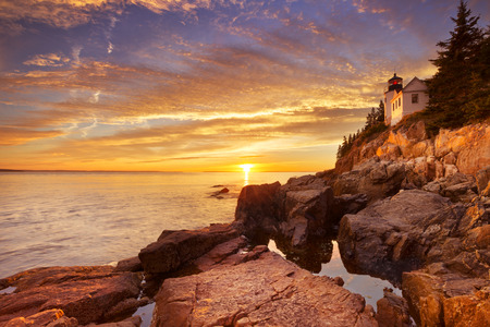 The Bass Harbor Head Lighthouse in Acadia National Park, Maine, USA. Photographed during a spectacular sunset.