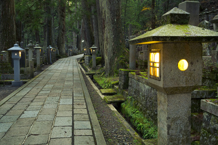 A path through the Okunoin ancient Buddhist cemetery in Koyasan, Japan.